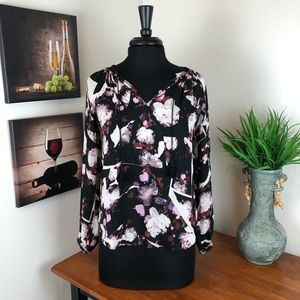 Simply Vera Wang Floral Blouse with Front Tassels